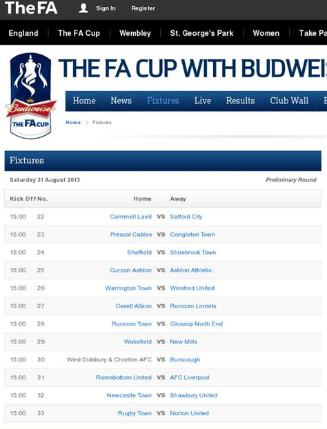 Fa Cup Fixtures Latest / Norwich City Vs Manchester United ...