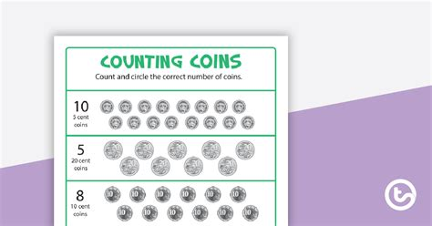 Counting Coins Worksheet Teaching Resource | Teach Starter