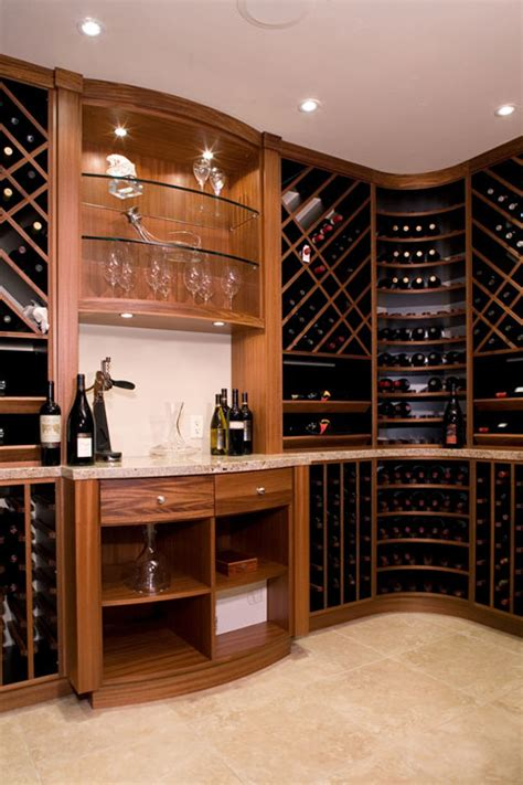 wine room with lighted glass display feist cabinets and