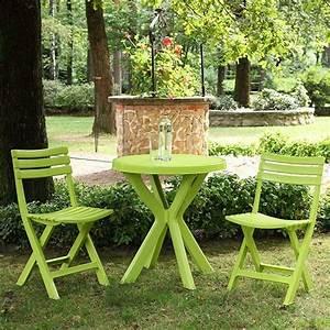 Table De Balcon Pliante : set balcon table ronde 2 chaises pliantes vert anis ~ Melissatoandfro.com Idées de Décoration