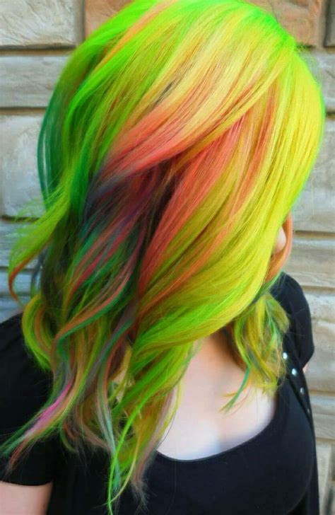 What Color Is Hair by Green Yellow Multi Color Dyed Hair Color Theunicorntribe
