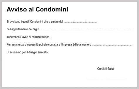 lettera al condominio avviso ai condomini per lavori