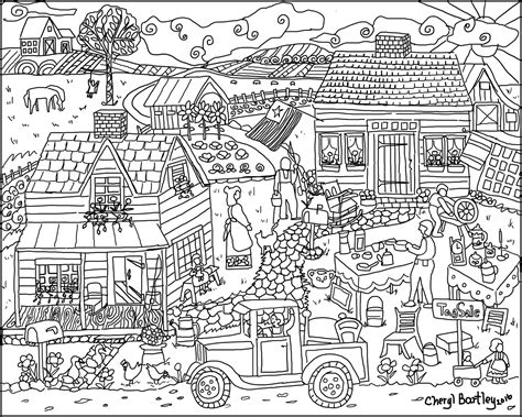 tag sale   farm house coloring page