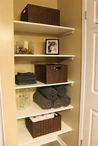 km decor diy organizing open shelving in a bathroom With pictures of bathroom shelves