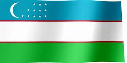 Flag Uzbekistan Waving Flags Lines Thin Animated