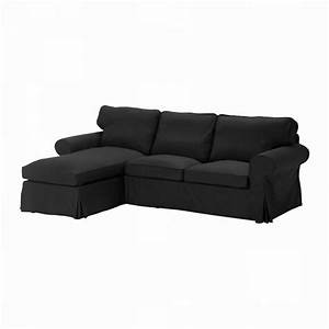 Ikea ektorp 2 seat loveseat sofa with chaise cover for Black sectional sofa covers