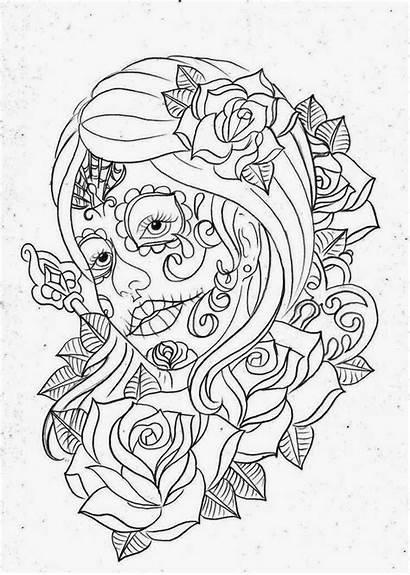 Tattoo Dead Stencils Stencil Skull Roses Sugar