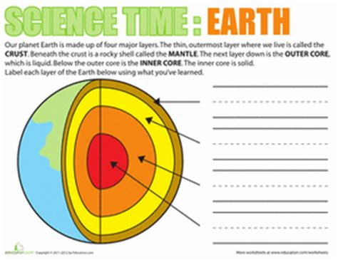 science time earth worksheet education