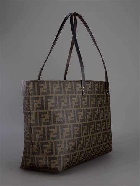 lyst fendi monogram shopper tote  brown
