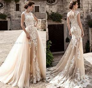 vintage champagne lace mermaid wedding dresses 2017 With champagne vintage wedding dress