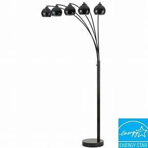 Cal lighting arc 76 in dark bronze floor lamp with metal for Arc floor lamp with brass shade
