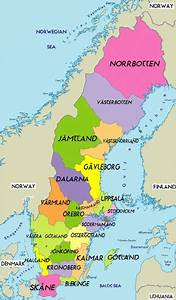 Map Of Sweden Political Region Province City  Political