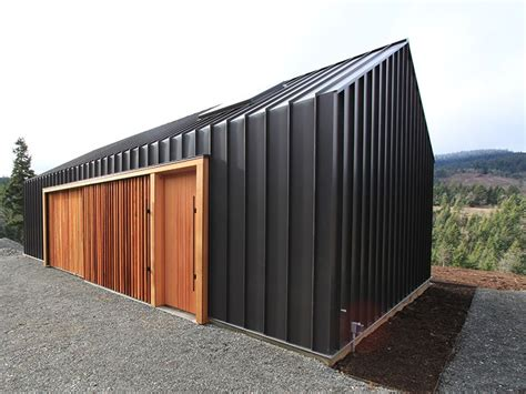 shed architectural style corrugated metal with clear finished wood accents the