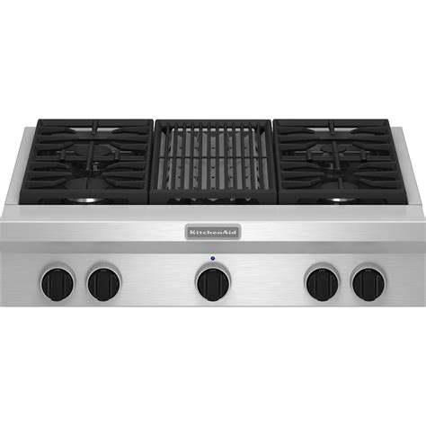 gas cooktop with grill kitchenaid kgcu462vss pro style 174 36 quot gas cooktop plus grill