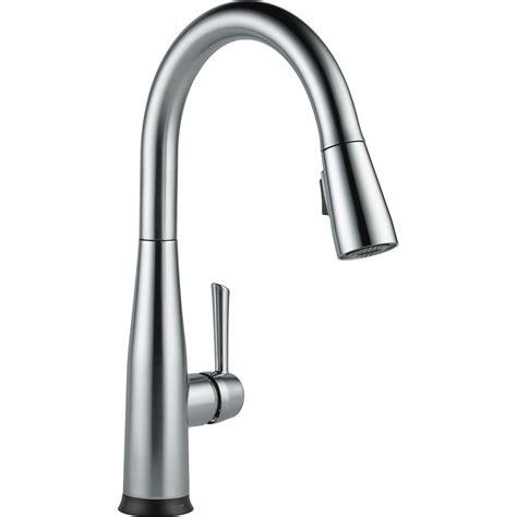 one kitchen faucet shop delta essa touch2o arctic stainless 1 handle deck