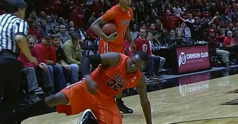 college basketball player purposefully tripped  ref