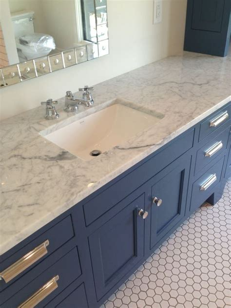 marble counter slate blue cabinets hex tile  modern