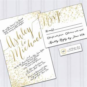 confetti wedding invitations gold foil look invites metallic With gold foil wedding invitations etsy