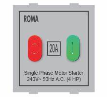 Roma Silver 20A Motor Starter Switch