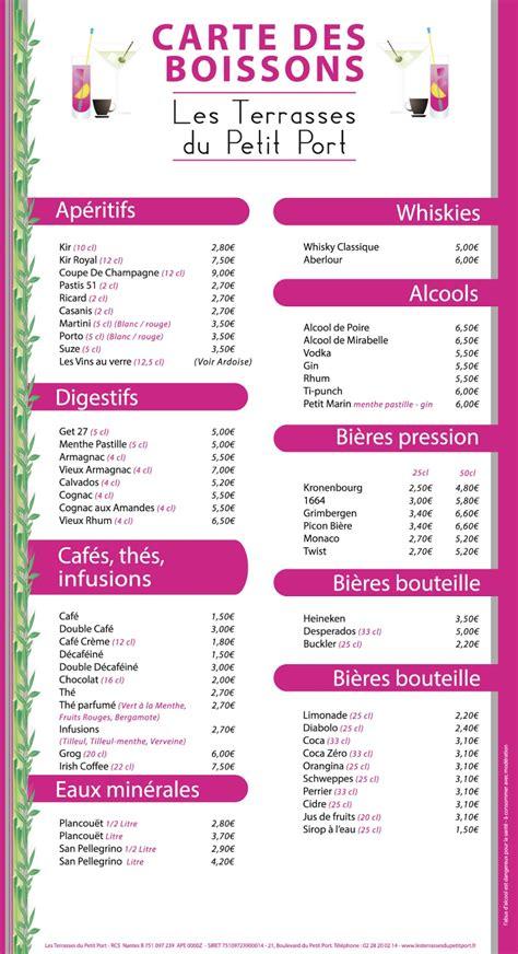 Carte Des Vins Boissons by Label Communication Les Terrasses Du Petit Port
