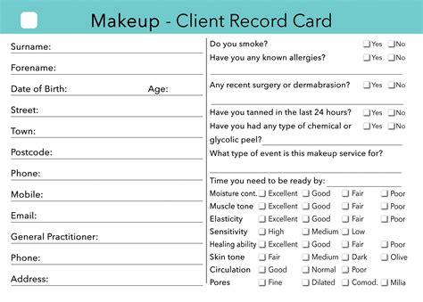 makeup client card treatment consultation card beauty