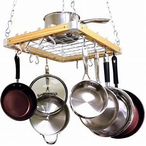 Cooks standard ceiling mounted wooden pot rack nc