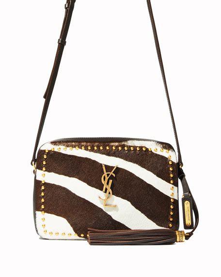 saint laurent lou medium ysl monogram studded zebra camera bag neiman marcus