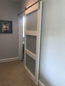 Glass barn door sliding 3 panel walston door company for 40 inch barn door