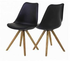 Chaises Scandinaves Noires : lot 2 chaises scandinave noires pieds en chne oris ~ Teatrodelosmanantiales.com Idées de Décoration