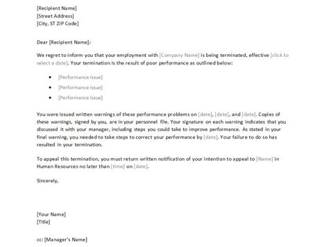 employmenttermination letter  printable documents