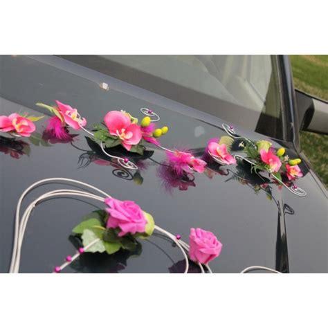 d 233 coration de voiture de mariage th 232 me vert anis fuchsia bouquet de la mariee