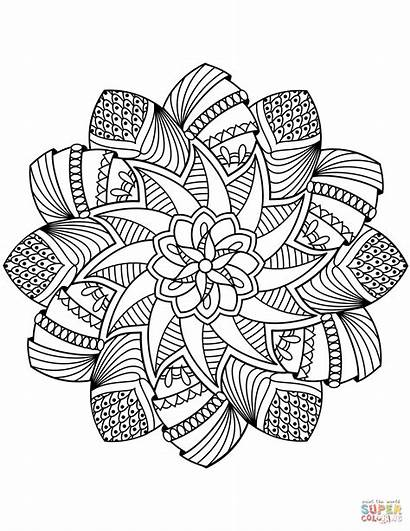 Mandala Coloring Pages Flower Adults Fancy Printable