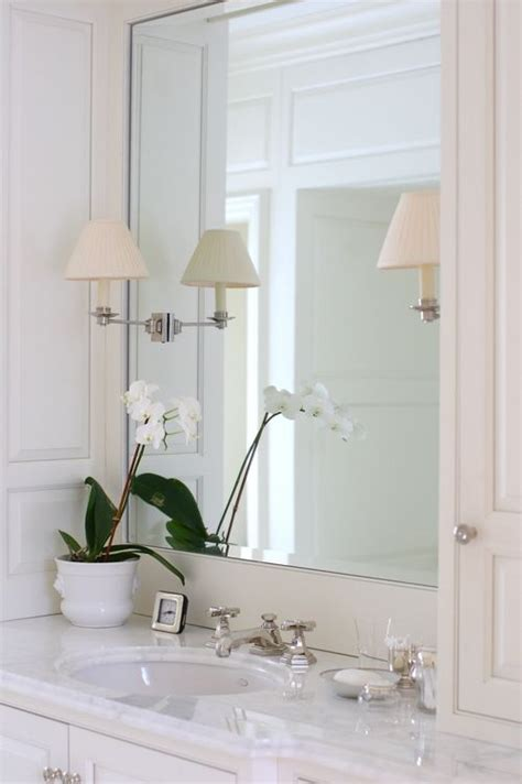 Bathroom Mirror Sconces by Large Framed Mirror With Sconces Mounted On Glass