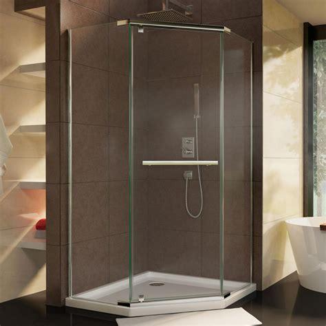 corner shower doors dreamline prism 36 1 8 in x 72 in semi frameless neo