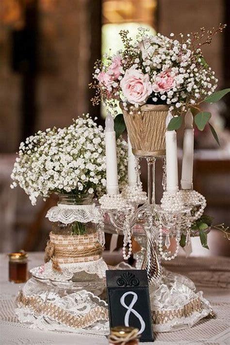 lace burlap  craft pearl wedding centerpiece deer