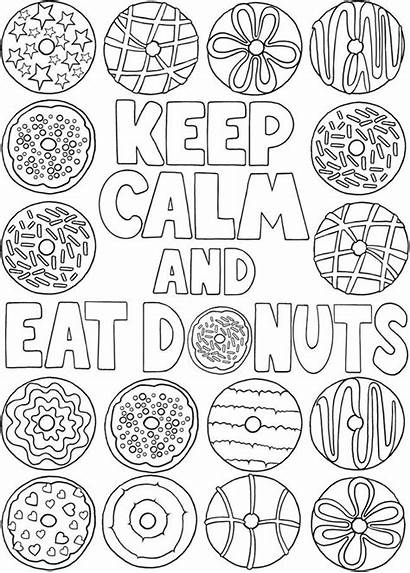 Coloring Donut Calm Pages Keep Donuts Sheets