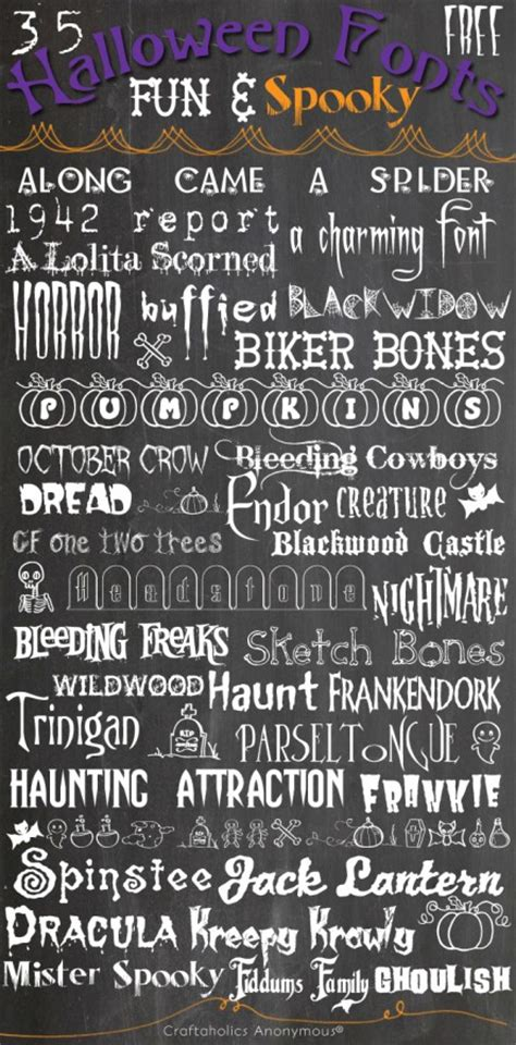 craftaholics anonymous  fun spooky  halloween fonts