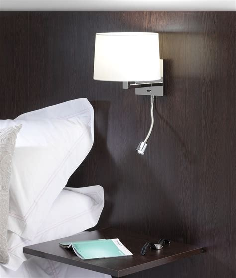 small bedside wall light with led in a matt nickel finish