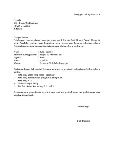 Lamaran Kerja Docx by Contoh Surat Lamaran Kerja Bidan Di Rumah Sakit Docx