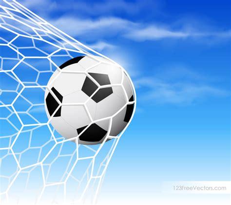 soccer ball  goal net  blue sky background