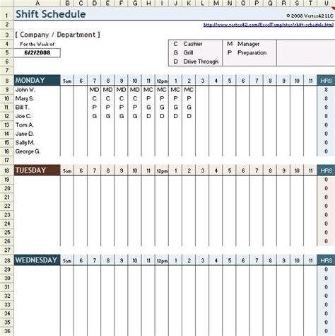 shift schedule template  excel shift schedule