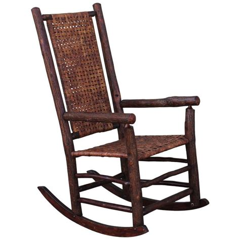 monumental hickory high back rocker with open
