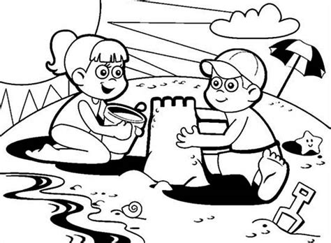 Coloring With Sand by Two Colaborate Sand Castle Coloring Page
