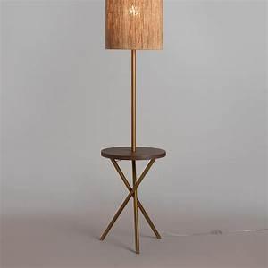 brass and walnut wood tripod floor lamp base world market With wood tripod floor lamp with glass tray table