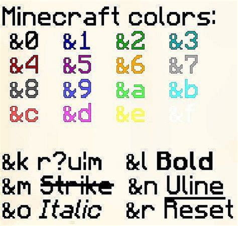 minecraft color text server color codes updated minecraft