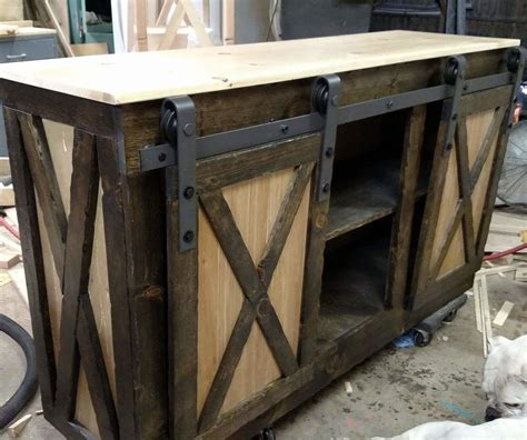 ana white rustic barn door console diy projects