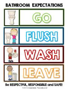 bathroom expectations go flush wash leave sign