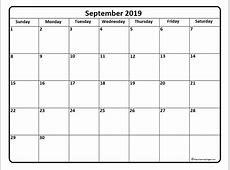 September 2019 calendar 56+ templates of 2019 printable