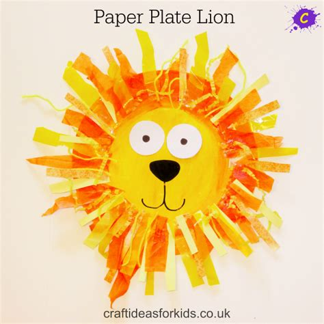 lion preschool craft paper plate 254