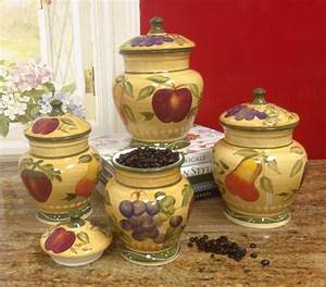 European Style Tuscan Fruit Grape Kitchen 4 Pc Canister
